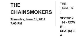 The chainsmokers in Montreal 2 tickets - June 1st