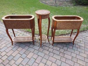 Wicker plant stands (3)