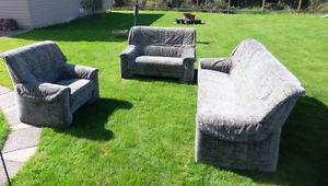 3 Piece Indoor Living Room Set: Sofa, Love Seat and Chair