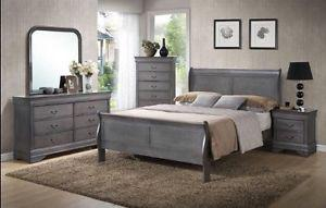 BEAUTIFUL Grey Wooden Full Bedroom Set BRAND NEW