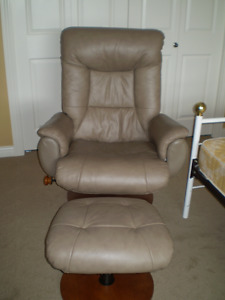 Beige Leather Recliner and Ottoman