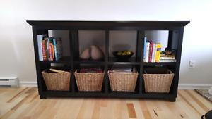 Solid wood storage / shelving unit with baskets