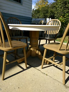 Wood table and chair set for sale.