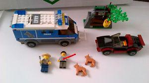 lego police dog van, car with 2 dogs and 2 minifigures see
