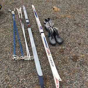 2 sets cross country skis, poles & boots