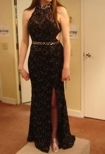 Alyce Paris,SIZE 10, ELEGANT FULLY SEQUINED BLACK GOWN WITH