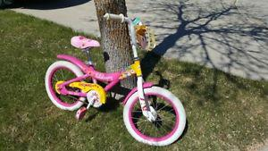 Girls Pink Bike w/ Front Carrier, Bell, 16 Inch Wheels -