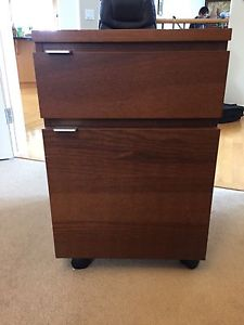 Ikea medium brown file carbinet with wheels, mint condition