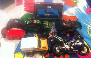 Lot of vehicle toys trucks, cars, motorcycles dinkies