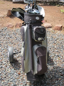 Men's Mizuno right hand golf clubs, bag, pullcart & shoes