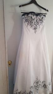 White & Black Wedding Dress