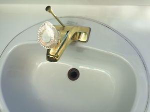Bathroom Vanity Sink & Counter Top ~ Gold Tone on White