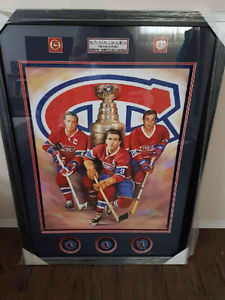 Montreal Canadiens signed 3 pucks with oil on canvas