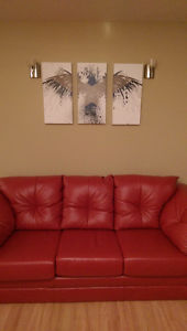Red Leather Couch - Ready for Pickup