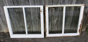ANTIQUE VINTAGE SHABBY CHIC WOOD 2 LITE WINDOW - craft