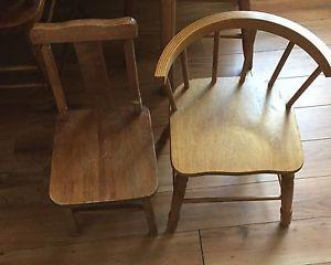 Pair of children's solid wood chairs