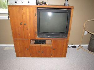Solid Pine Entertainment Centre and TV