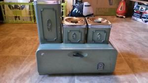 Vintage bread box & tin set