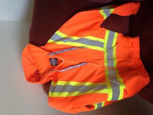 Work safety jacket, orange/reflective stripes, Fall River
