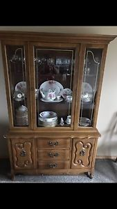 Antique China cabinet with American Beauty China