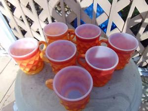 Lot of 7 FIRE KING Mugs Cups by Anchor Hocking Oven-Proof