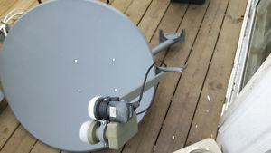 Satellite dish with double lnb included. About 32 inches