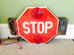 Vintage School Bus Stop Sign