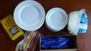 large lot of Plastic plates and cutlery