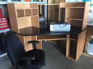 Corner Computer Desk, Chair and Printer