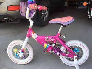 Girls Barbie bike with training wheels