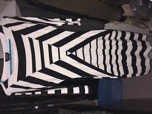 BEBE Black and White Striped dress