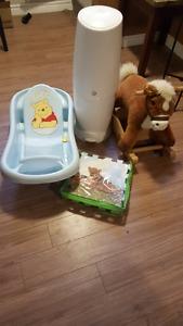 Baby tub, horse, diaper genie.