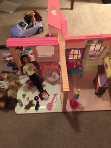 Barbie's, barbie house and accessories