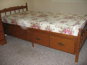 Captain's bed and matching dresser with mirror