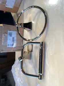 Kohler bath paper holder + hand tower ring, new in box