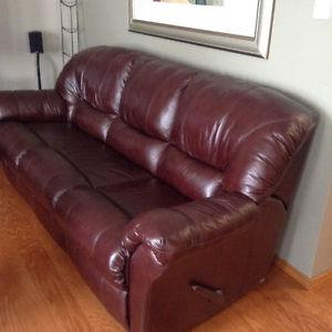 Leather sofa and chair both recline