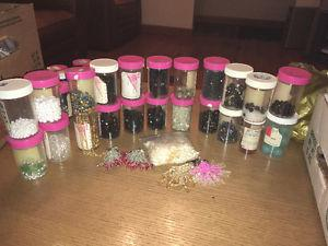 Tons of beads and hand made ear clip ins