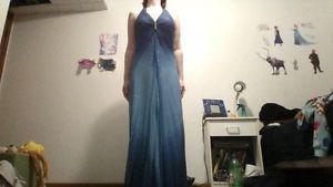blue sparkly grad dress.