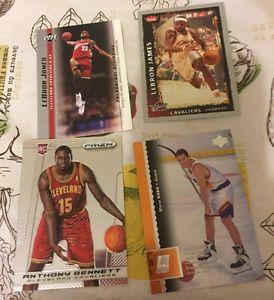 4 Basketball Cards-1 Lebron James Rookie Cards-1 Bennett-1