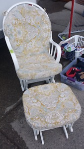 Beautiful white rocking chair and foot stool