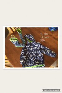 Boys size 4 t rain jacket and boots