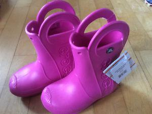 Brand new with tags little girls Crocs rainboots size 12