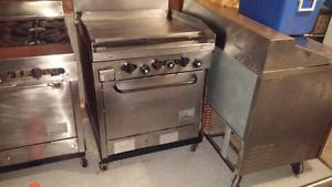 Commercial kitchen stoves and sink
