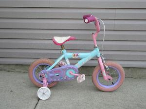 "Girls bike 12"" wheels + training wheels Strawberry Shortcake"