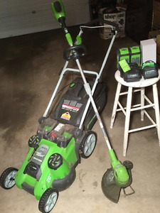 Green Works cordless mower and trimmer set