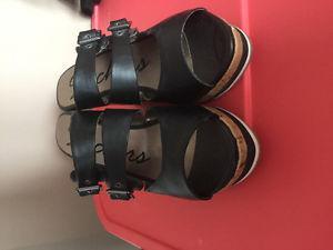 Sketchers Black leather wedge sandals