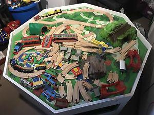 Train table with Thomas the train accessories