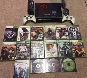 Xbox 360 with 2 Controllers and 16 Games!