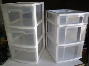 plastic drawers containers set of 2 with 3 drawers each
