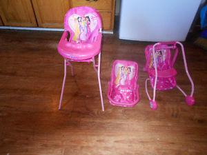 precious gems doll highchair. swing and car seat.